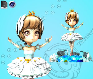 3D cartoon princess snow