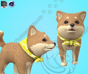cartoon toon husky 3D model