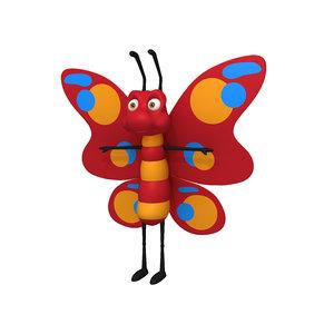3D butterfly cartoon model