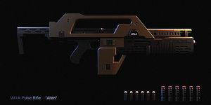 3D model armat m41a pulse rifle