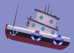 3D cartoon boat toon model