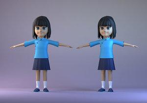 student girl cartoon character model