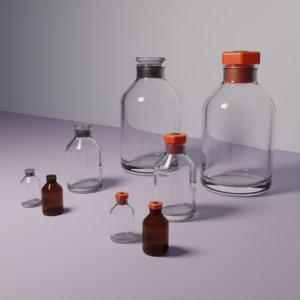 3D model glass laboratory reagent bottles