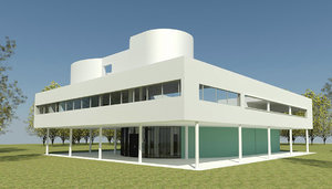 3D villa savoye le corbusier model