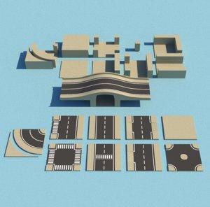 cartoon modular roads canals 3D
