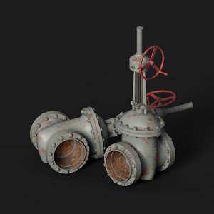 industrial gate valve 3D
