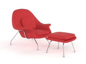 womb chair ottoman 3D