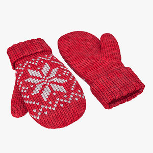 mitten wool knitted model