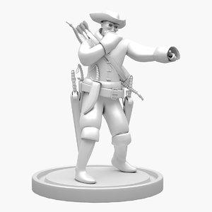 pirate character human 3D model