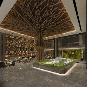 3D hotel lounge hall scene