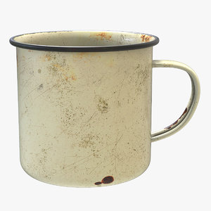 3D vintage enamel camping mug