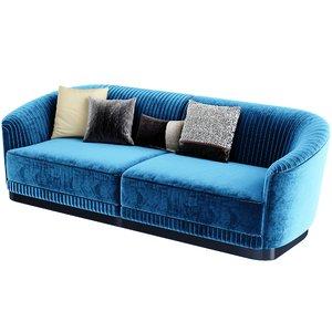 velvet sofa blue 3D model