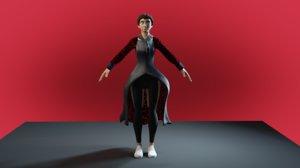 character girl cartoon human 3D