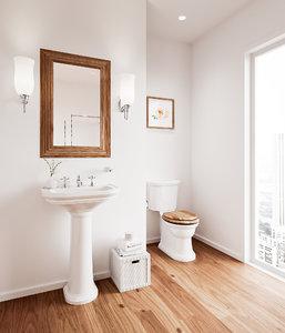 victorian modern bathroom interior scene 3D model