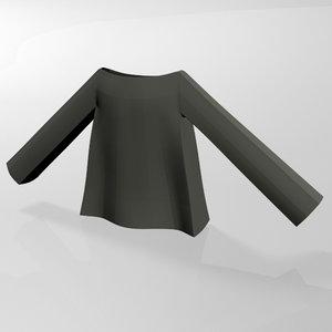 stylish dress boat-neck 01 3D model