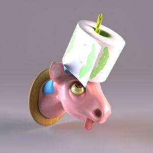 toilet paper holder unicorn 3D model