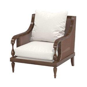 chair custom brown wood 3D model