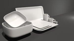 dishes kitchen interior 3D