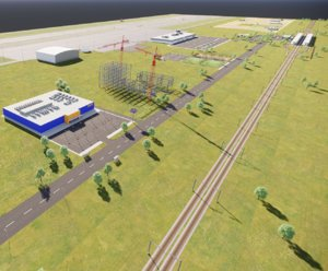 3D airport train station scene model