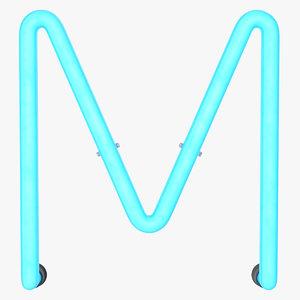 neon letter m alphabet model