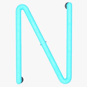 neon letter n alphabet 3D model