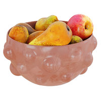 Conference Pears and Apples in a Round Decorative Vase