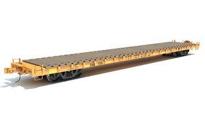 flat railroad car 3D model
