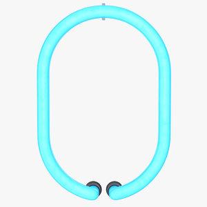 3D neon letter o alphabet model