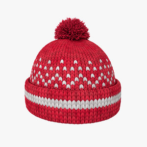 knitted winter hat 3D model
