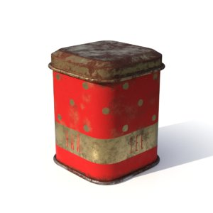 3D model soviet tea tin