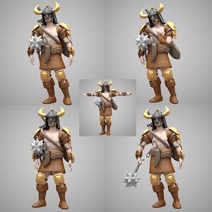 3D warrior pose model