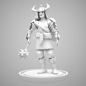 3D warrior character human