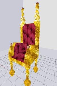 3D chair gold throne