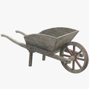 3D wooden wheelbarrow
