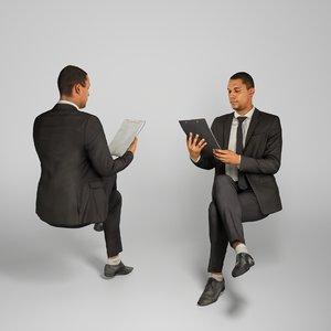 3D photogrammetry man business suit model