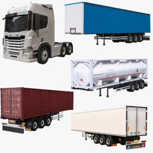 european semi truck 3D model