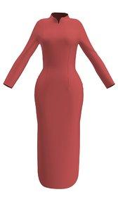 marvelous designer chinese dress 3D model
