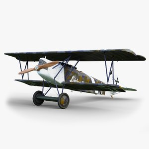 3D aircraft fokker gameready dvii