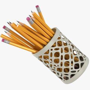realistic pencils cup 3D model