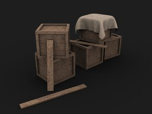 3D simple wooden boxes boards model
