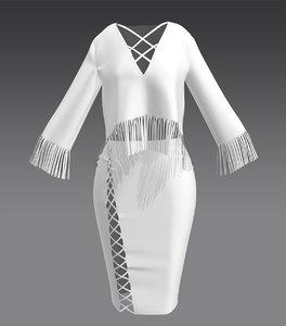 marvelous designer tassle skirt model