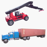Reach Stacker and Container Truck