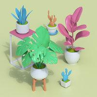 Stylized Cartoon Houseplant Collection