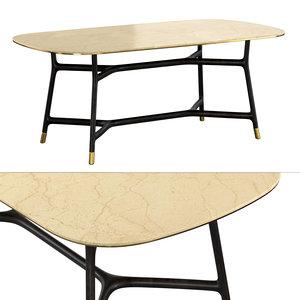 3D tavolo joyce piano marmo model