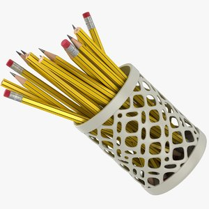 realistic yellow pencils cup 3D
