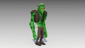 3D frankenstein cartoon model