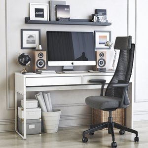 office table chair shelf 3D model
