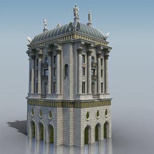 neoclassic facade 3D model