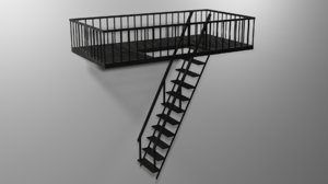 3D stairs unwraped blender model