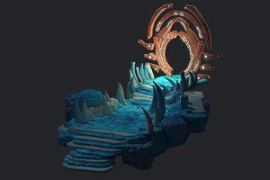 entrance crypt skull cave 3D model